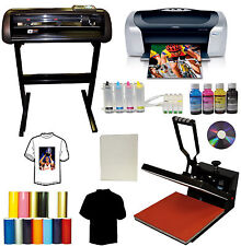 "15x15"" Heat Press,Metal Vinyl Cutter Plotter,Printer+CISS+Tshirt Start-up Bundle"