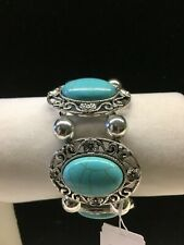 Erica Lyons Turquoise  Stone And Silver Stretch Bracelet new w tags