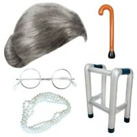 GRANNY OLD LADY FANCY DRESS GREY OLD LADY WIG ZIMMER FRAME WALKING STICK PEARLS