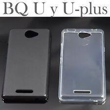 Funda SILICONA para BQ AQUARIS U U-lite y U-PLUS protector transparente y negro