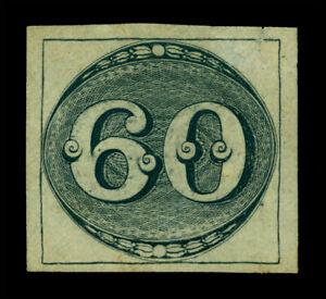 BRAZIL 1843  OLHO de BOI  60reis black   Scott # 2a mint MH VF aspect