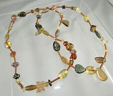 """All Glass Beaded Mixed Shapes Butterfly Heart Round + Beaded Necklace 33""""   #193"""