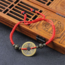 1/2Pcs Feng Shui Red String Ancient Coin Fortune Cat Lucky Rope Bracelet Amulet
