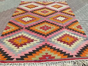 "Anatolian Antalya Classic Kilim Orange Wool Floor Rug Handmade Carpet 82""x112,5"""