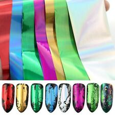 7x Metall Farbe Nagel Aufkleber Dem Papier Transfer Nagel Folien Charme Wickelt