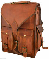 Leder Rucksack Tasche Satchel echte echte Herren Aktentasche Laptop braun