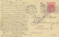 NIEDERLANDE 1918 Wilhelmina 5 C EF a. AK n. WIEN, ZENSURIERT k.u.k.-Zensurstelle