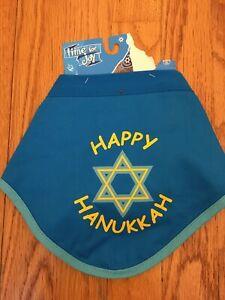 Time For Joy Reversible Happy Hanukkah/Dreidel Champ Dog/Pet Bandana (Blue) Sm/M