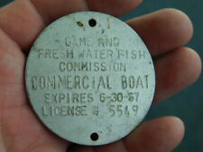 Vintage 1967 Commercial Boat Fresh Water Tag Id Badge Medal