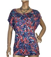 ESPRIT SIZE M MILLEFLEUR MULTI-COLOURED ABSTRACT PRINT TOP BNWT RRP $49.95