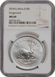 2018 SOUTH AFRICA KRUGERRAND S1KR MS 69 NGC CERTIFIED COIN