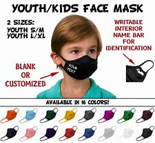 YOUTH KIDS CUSTOM FACE MASK PERSONALIZED BOYS GIRLS YOUR TEXT OR BLANK