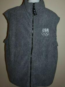 NWOT USA Olympics Fleece Vest 2XL 2X XXL Gray Sleeveless Jacket Full Zip New
