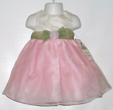 Rare Editions Infant Girls Organza Dress & Panty Set Ivory & Pink18M NWT