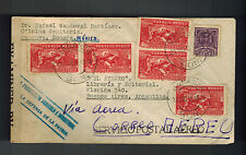 1942 Cananea Sonora Mexico to Buenos Aires Argentina Censored Registered cover