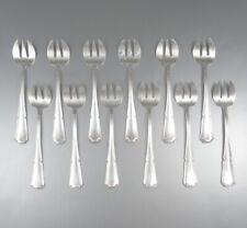 "Vintage French Silver Plated Oyster Forks, ""Filets"" Pattern, 12 pcs"