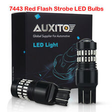 Pair 7443 Red Flash Strobe Blinking Brake Tail Stop LED Light Bulbs For Chevy