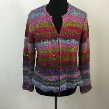 Talbots Women's Multi Color Striped Wool Blend Full Zip Sweater - Size SP
