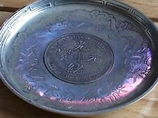 VINTAGE CHINESE EXPORT SILVER COIN TRAY. DRAGONS, BATS & CHARACTER MARKS. 110g