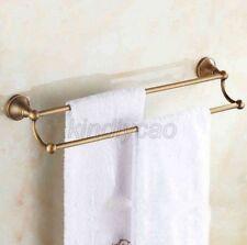 Antique Brass Wall Mounted Bathroom Double Towel Bar Rack Holder Kba077