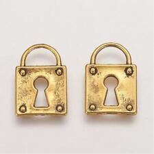 6 Lock Charms Antique Gold Tone Steampunk Padlock Pendants 15mm