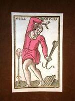 Aprile Mitologia Settecentina acquerellata a mano del 1785 Andre Declaustre