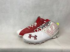 Under Armour Men's 13 Banshee Mid Mc Lacrosse Cleats White/Red 1264189-161