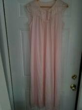Women's Silky Light Pink Embroidery Lace Pleated Flowy Nightgown Sleepwear M