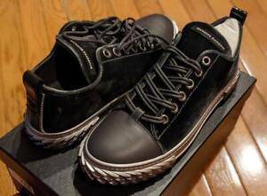 """$650 Mens Giuseppe Zanotti """"Blabber"""" Velvet/Leather Sneakers Gray 44 US 11"""