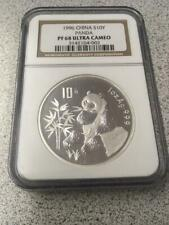 1996 China Silver Proof Panda S10Y NGC PF 68 Ultra Cameo Low Mintage