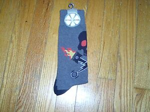 NEW WITH TAG - OZONE RIDERS SOCKS - HEATHER  GRAY WITH SKULL & FLAMING PINSTONS