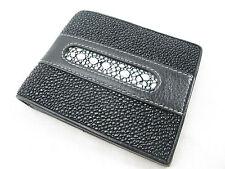 Genuine Black Row Stingray Skin Leather Mens Bi-Fold Card Wallet + FREE SHIPPING
