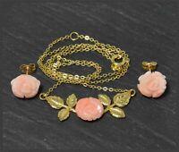 Koralle & Gold Schmuckset, Collier Kette & Ohrstecker, 333 Gold, Rosenblüten