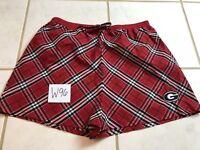 Womens Sleep Pajama Shorts RED PLAID XL
