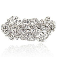 Clear Rhinestone Crystal Rose Barrette Silver Tone Hair Clip Bridal Party Gift