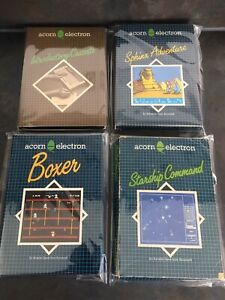 4 Acorn Electron Games Boxer Starship Command Sphinx Adventure Introductory Tape