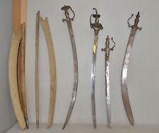 4 antique Indo Persian Indian tulwar sword saber collectible parts or repair lot