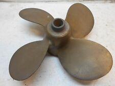 """Vintage AMC 674 4 blade brass boat motor prop 11-1/2"""" wide for 3/4"""" shaft"""