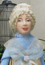 Cute art doll, 14 inches, in 1800s costume, honey colored silk with blue trim