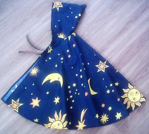 ZAUBERER Umhang, Kapuze, Hexer, Magier, Cape Kostüm Fasching Sonne Mond Sterne