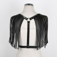 Unisex Faux Leather Feather Shoulder Body Chest Harness Belt Clubwear Costume