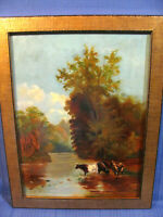 Vintage c.1920's Oil Painting of Cows Wading Into a Stream