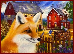 Original Acrylic ACEO PAINTING Fox Fall Autumn Country Fields Farm M. Mishkova