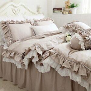 European Khaki Bedding Set Double Ruffle Lace Duvet Cover Bedding Bed Sheet