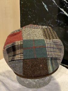 Hanna Hats Of Donegal Ireland,designer,NEW, Tweed Patchwork Cap Size XL,