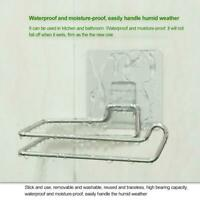 Toilet Paper Holder Suction Cup Stainless Steel Tissue Roll Hook Rack Bathroom