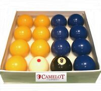 "2"" BLUES & YELLOWS.POOL BALLS WITH 1 7/8 SPOTTED WHITE BALL (UK STANDARD SIZE)"