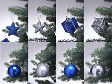 28 tlg. Christbaumkugeln Weihnachtskugeln Christbaumschmuck Set blau / silber