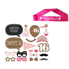 Sweet Sixteen Sash With Photo Props 16th Birthday Party Accessory Set