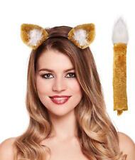 Fox Instant Dress Up Set Headband & Tail Animal Ladies Fancy Dress Costume Prop